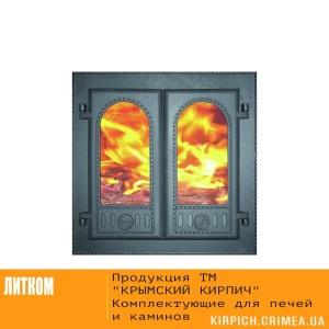 ДК-6С RLK 8415 Дверка каминная двухстворчатая крашеная со стеклом